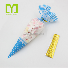 New Customized V shape transparent popcorn /candy plastic bags cone/ triangle shapeed plastic bag