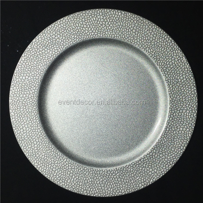 Round plastic wedding charger plates for wedding and home table use decoration