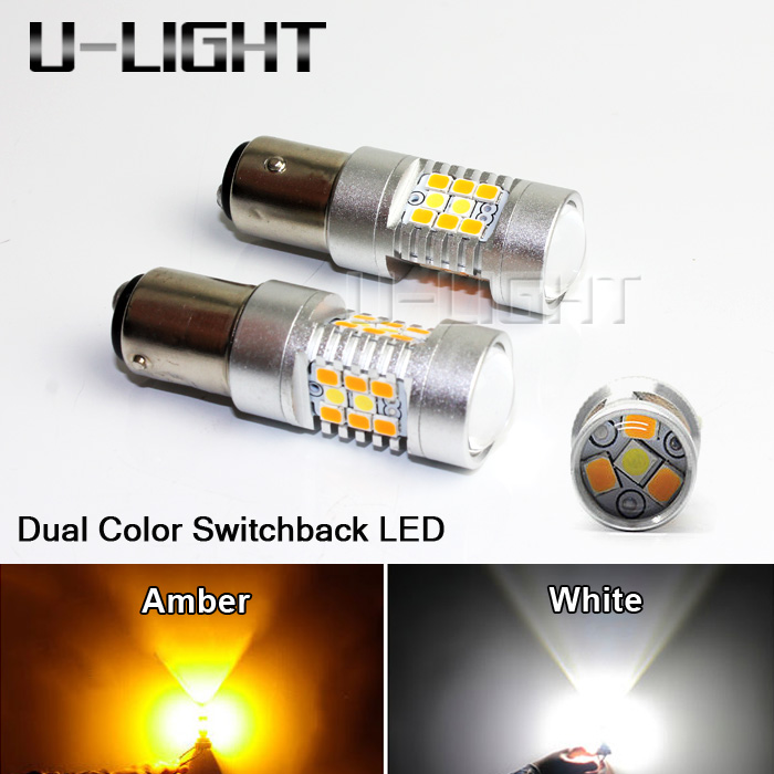 Super Bright S25 1157 BAY15D 28SMD Dual Color Switchback LED Turn Signal Light Bulbs