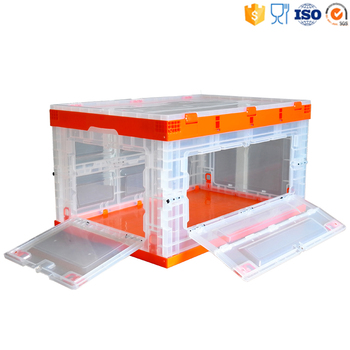 80L collapsible plastic folding moving crate with side open