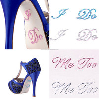 Hot sale custom shape patterns wedding shoes wedding cards decoration scrapbooking rhinestone sheets crystal sticker