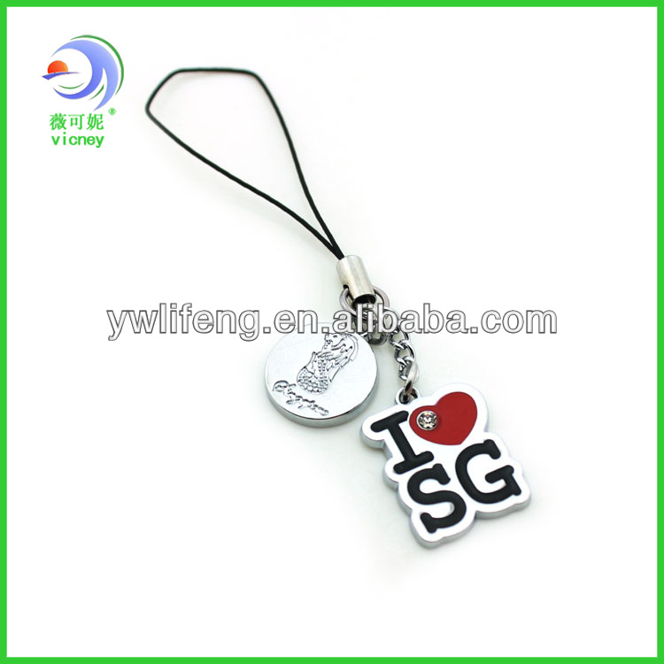 Custom Made Singapore Souvenir metal keychain with Small drop
