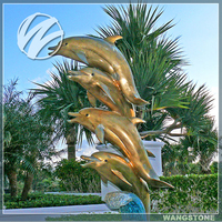 Metal Brass Dolphin Water Fountain Sculpture