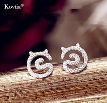 China top ten selling products 925 sterling sliver earring cz diamond cat stud earring