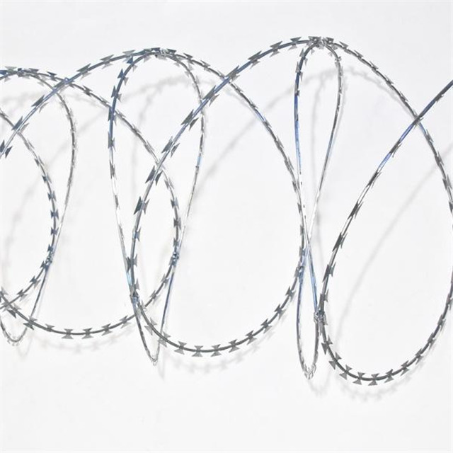 low price used sharp security fence galvanized concertina razor barbed wire with pallet for sale