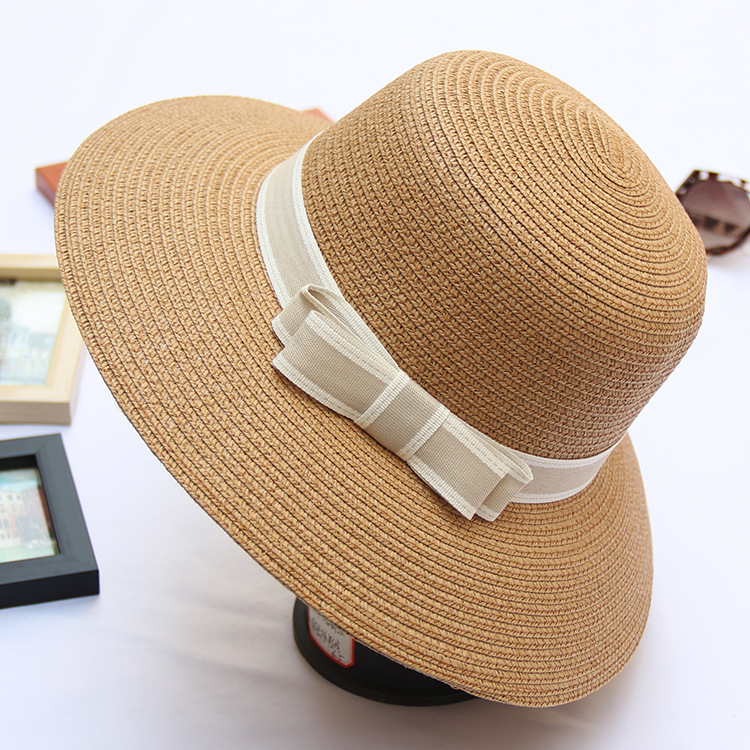 B40083A 4 Colors women summer and autumn bowknots straw hats