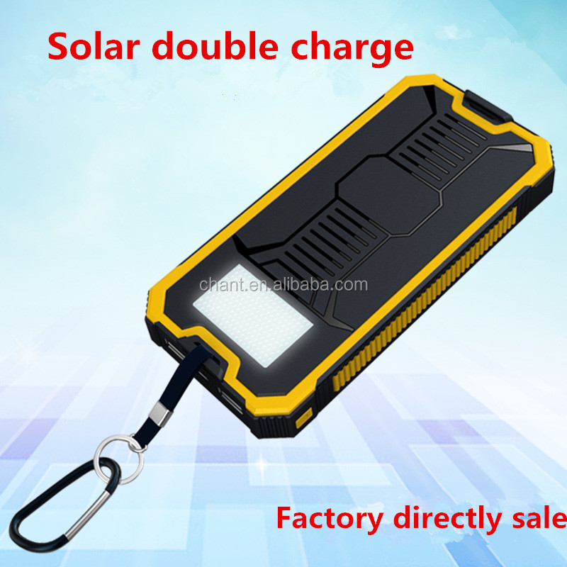 Factory price outdoor solar charging dual USB LED camping light mobile battery charger,20000mah smart solar energy power bank