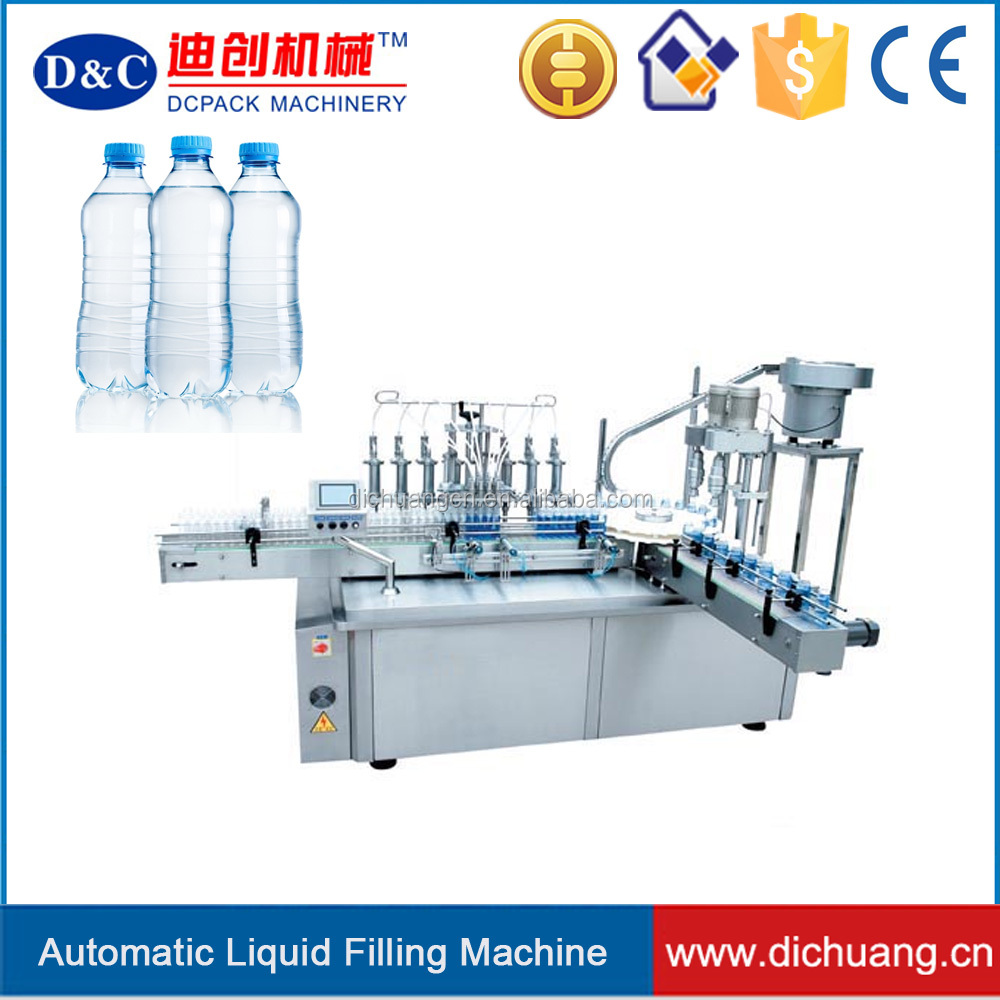 Automatic plastic bottle filling capping and labeling machine