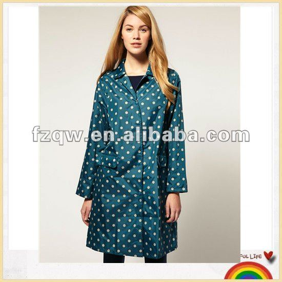 Brand new beautiful designed polka dot nylon waterproof fabric raincoat