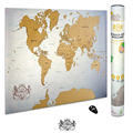 "Scratch Off World Map of the World 33.7""x24"" World Map Poster State Outlines of U.S. Map Travel Map Gift AMA-59"