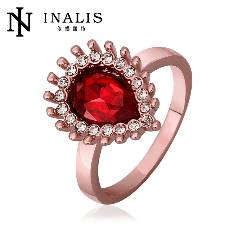 2014 new <strong>18</strong> <strong>k</strong> <strong>gold</strong> plated ring women jewelry with red pear zircon wholesale factory price