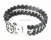 Best Selling America Braided Plain Leather Bracelet With Stainless Steel Magnetic Clasp magnetic clasps for flat leather