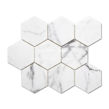 "Best Price Calacatta White Mosaic Tile 4"" Hexagon Calacatta Marble For Decoration"