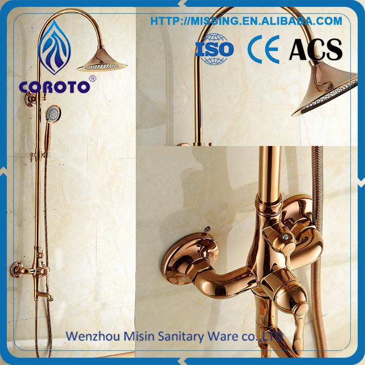 Luxury Style Expose Double Handles In-wall Bathroom Faucet Royal Brass Rain Shower Panel