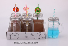 6pcs glass mason jar with handle and colorful straw