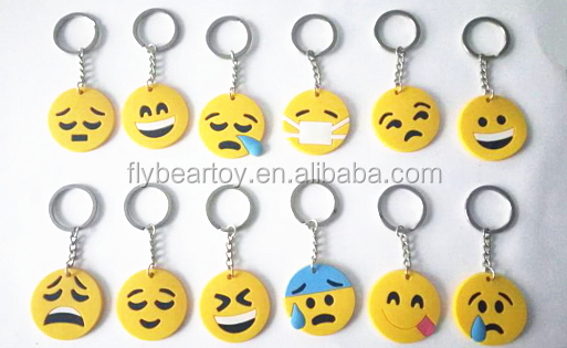 2015 Popular Custom Emoji PVC rubber keychain promotion gift souvenior keyring