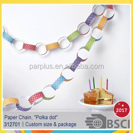 Polka Dot Paper Chain Kit Baby shower bithday christmas paper chain garland