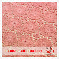 2013 CHINA HOT SELLING HIGH QUALITY BEADED EMBROIDERY CROCHET FANCY 100%COTTON WHOLESALE PINK BEADED WEDDING LACE FABRICS