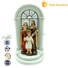 2015 Christmas religious showcase decoration Holy family with church