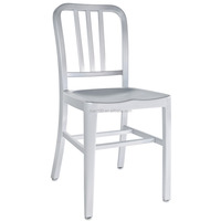 Brushed anodized aluminum modern navy dining chairs