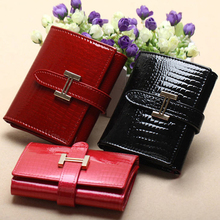 luxury cowhide wallet leather, women short size crocodile grain card wallet wholesale