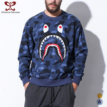 A Forever Fairness Black Camouflage Sweatshirt Shark Mouth Cotton Printed Pullover Hoodies