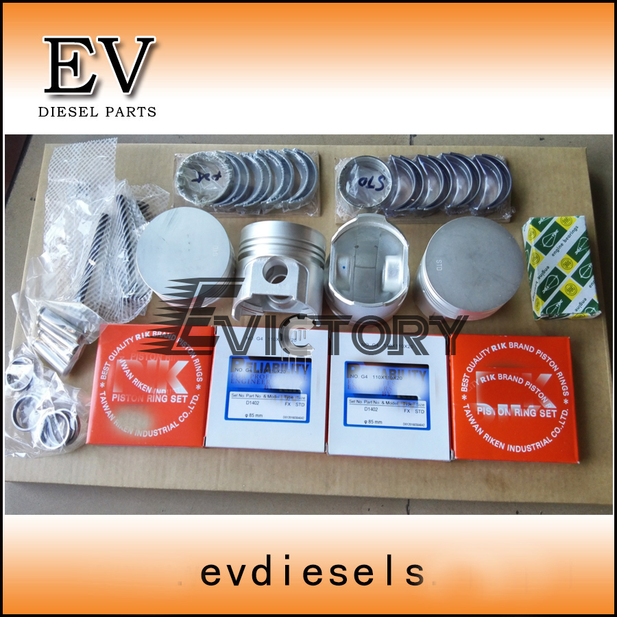 Engine repair kit Kubota D1402 piston ring cylinder liner full gasket crankshaft/con rod bearing
