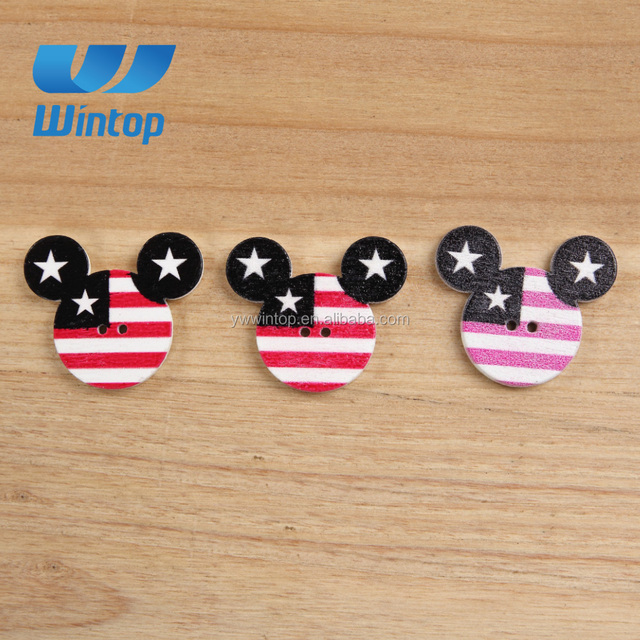two hole white color color printed wood buttons sewing craft