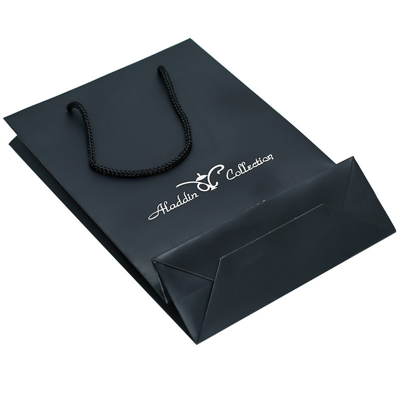 Factory Cheap High Quality Luxury Matte Black Custom Printed Retail Paper Gift Bag For Shopping
