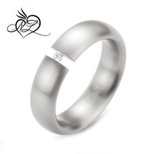 Spikes Stainless Steel Single CZ Classic Band Ring