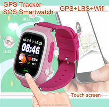 2017 factory price cheap Kids gps watch phone Q90 Touch screen pink GPS Tracker watch for kids