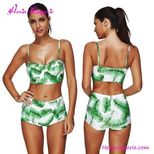 Green Leaves Printing High Waist Sexy Lady Swimwear Bikini Swim Wear