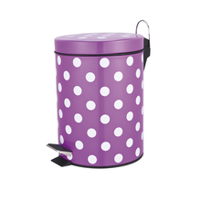 Best choice painting cute dot decorative stainless steel household trash can pedal bin