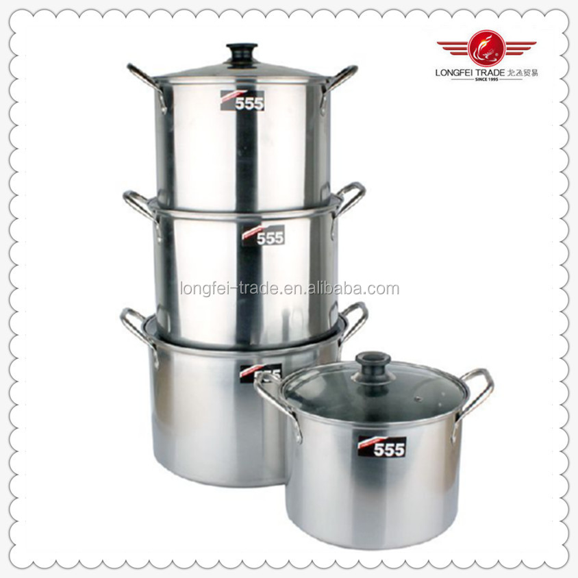 4pcs/set Large Stainless Steel Sauce Pan 24/26/28/30cm