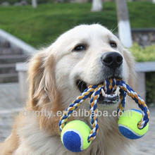 dog fetch toy cotton rope toy with tennis balls