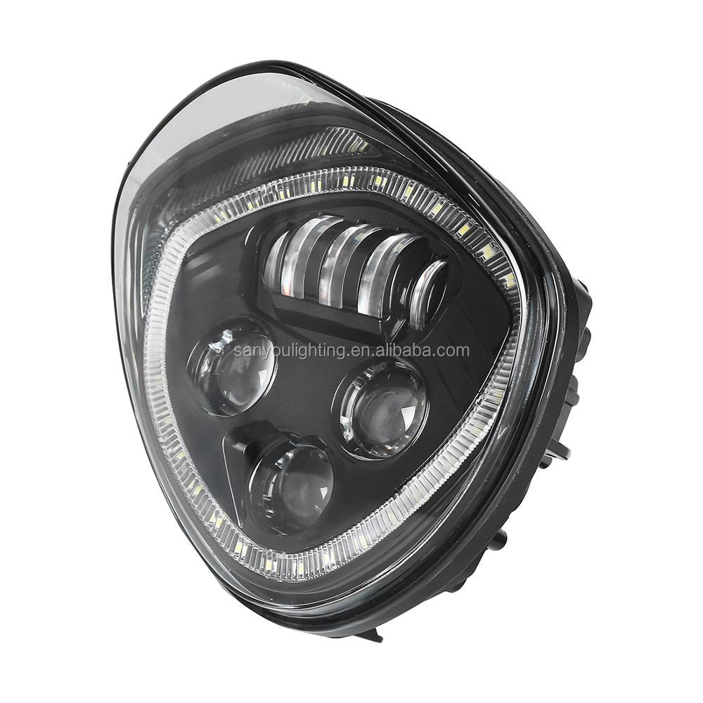 2018 newest black led headlight fit for polaris victory motorcycle with angle eye black&chrome