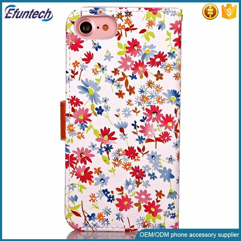 Free sample phone accessory beautiful flower flip cover phone case for iphone 7 plus