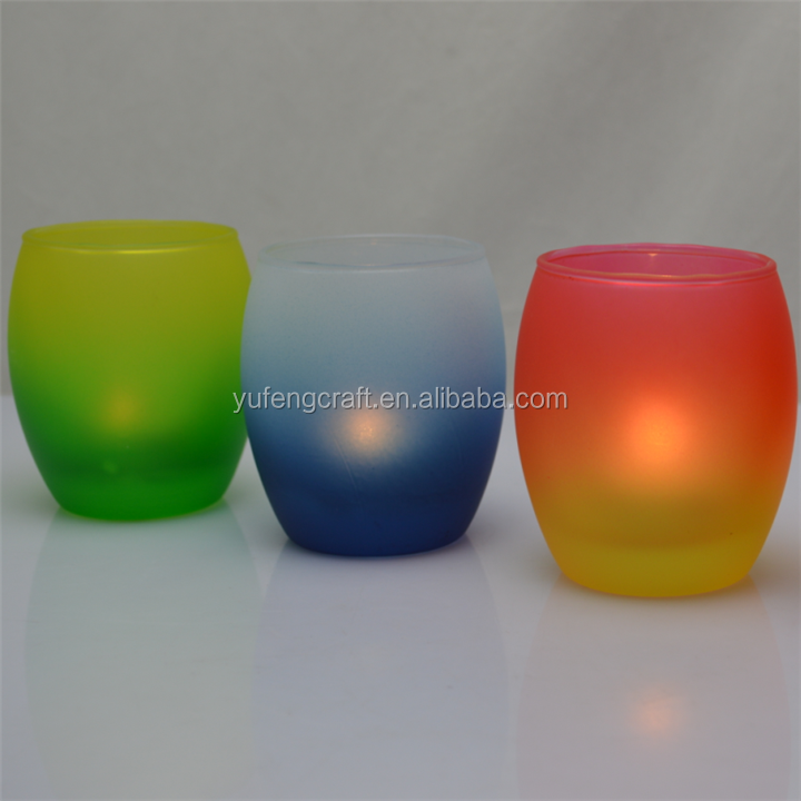 Colored Egg Shaped Glass Tealight Glass Candle Holder
