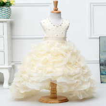 2016 Girls baby wedding party dress diamond trailing baby welding dress more frills kids dress