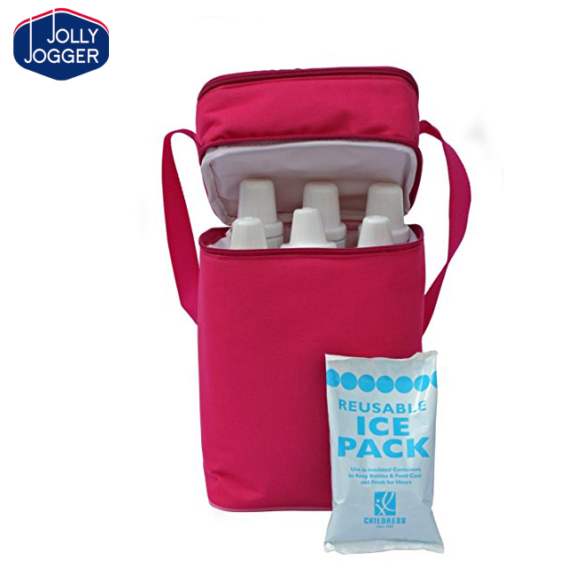 Outdoor baby breastmilk insulated Childress 6 Bottle Cooler Bag Portable Pinic shoulder bag
