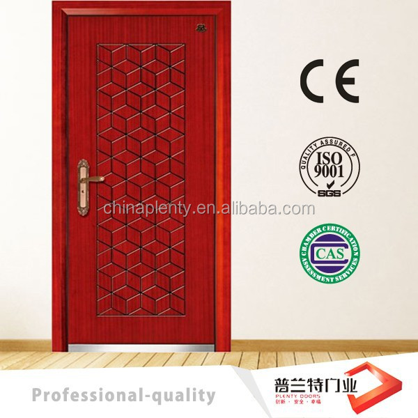 red plain steel mdf armor door with painting PLT-A98
