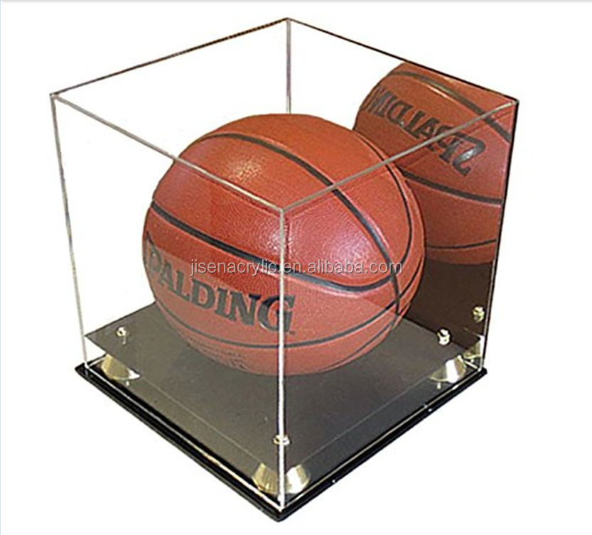 Acrylic Basketball/Soccer Display Case with Riser Stand, ULTRA CLEAR