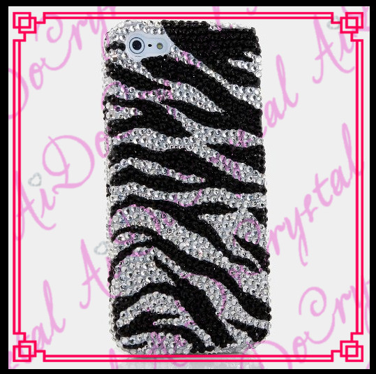 Aidocrystal white and black Leopard grain bling crystal jeweled cell phone covers