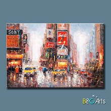 China wholesale handmade impressionist new york cityscape canvas oil painting