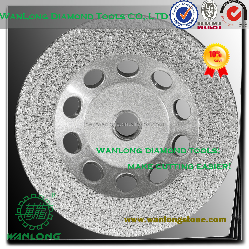 vacuum brazed diamond husqvarna target grinding cup wheel for stone grinding