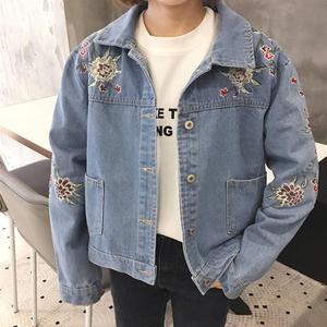 sh10277a Korean style bulk wholesale jacket embroidered flowers denim college jacket women