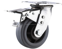 double ball bearing adjustable TPR wheel casters with brake