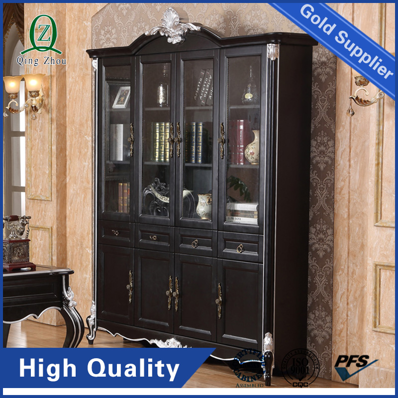 Top1 Office Furniture Modern Storage Index Card Wood Office 4 Drawer File Cabinet With Tempered Glass Door