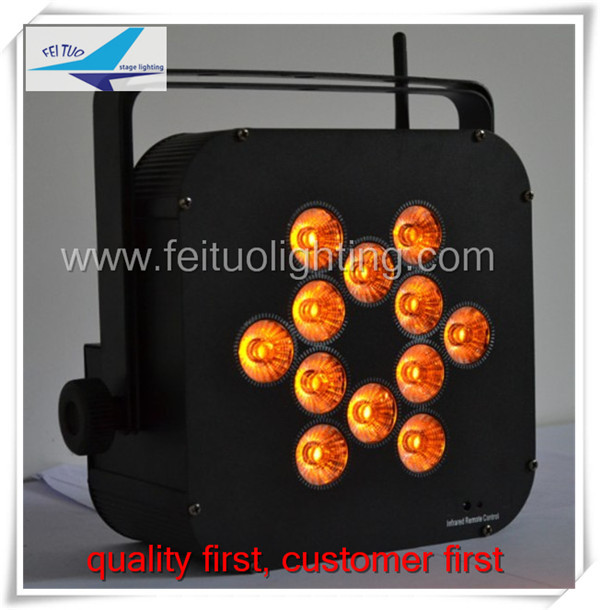 12pcs RGB 3 IN 1 leds 9w leds wireless battery powered flat par light