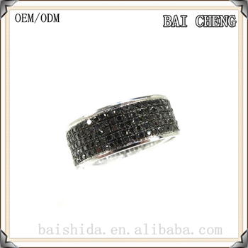 Black Crystal stainless steel ring in Cluster design jewelry for wholesale